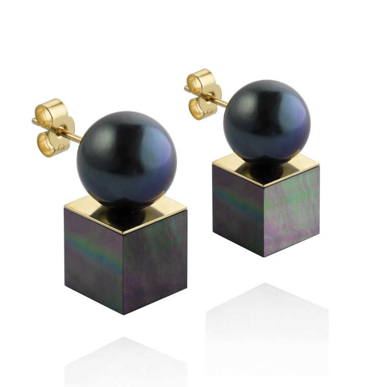 Melanie Georgacopoulos Cube Stud pearl earrings