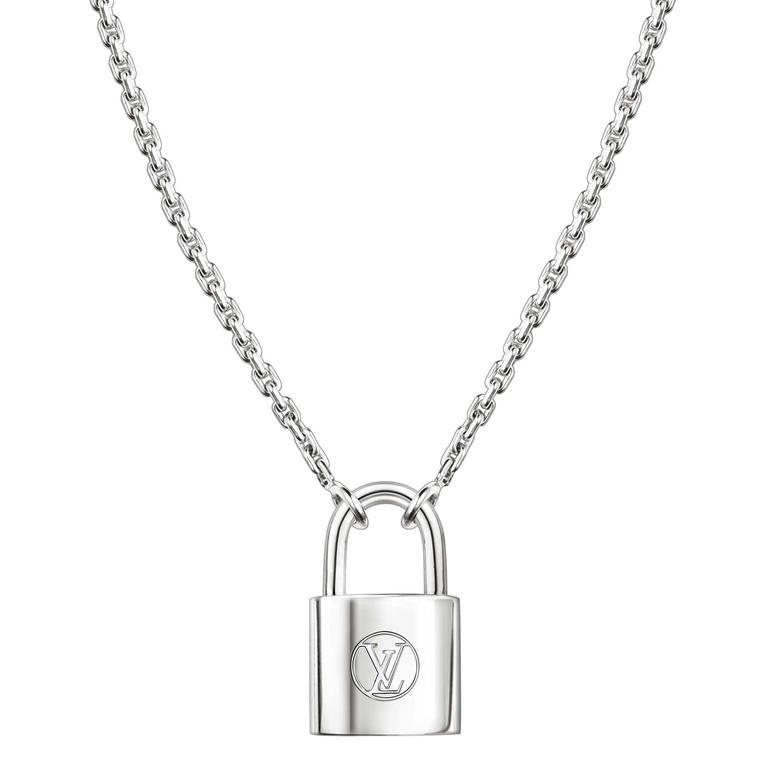 Close up of Louis Vuitton Lockit pendant in sterling silver