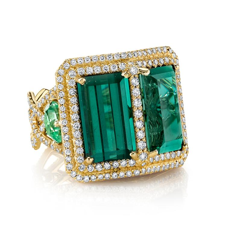 Double Trouble green tourmaline cocktail ring