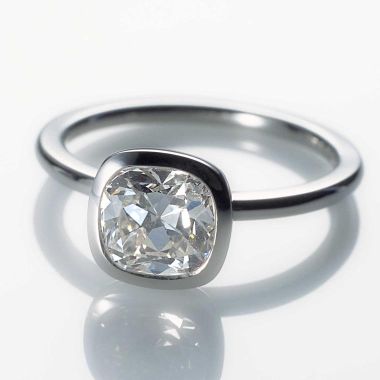 Cox + Power bespoke cushion-cut diamond engagement ring