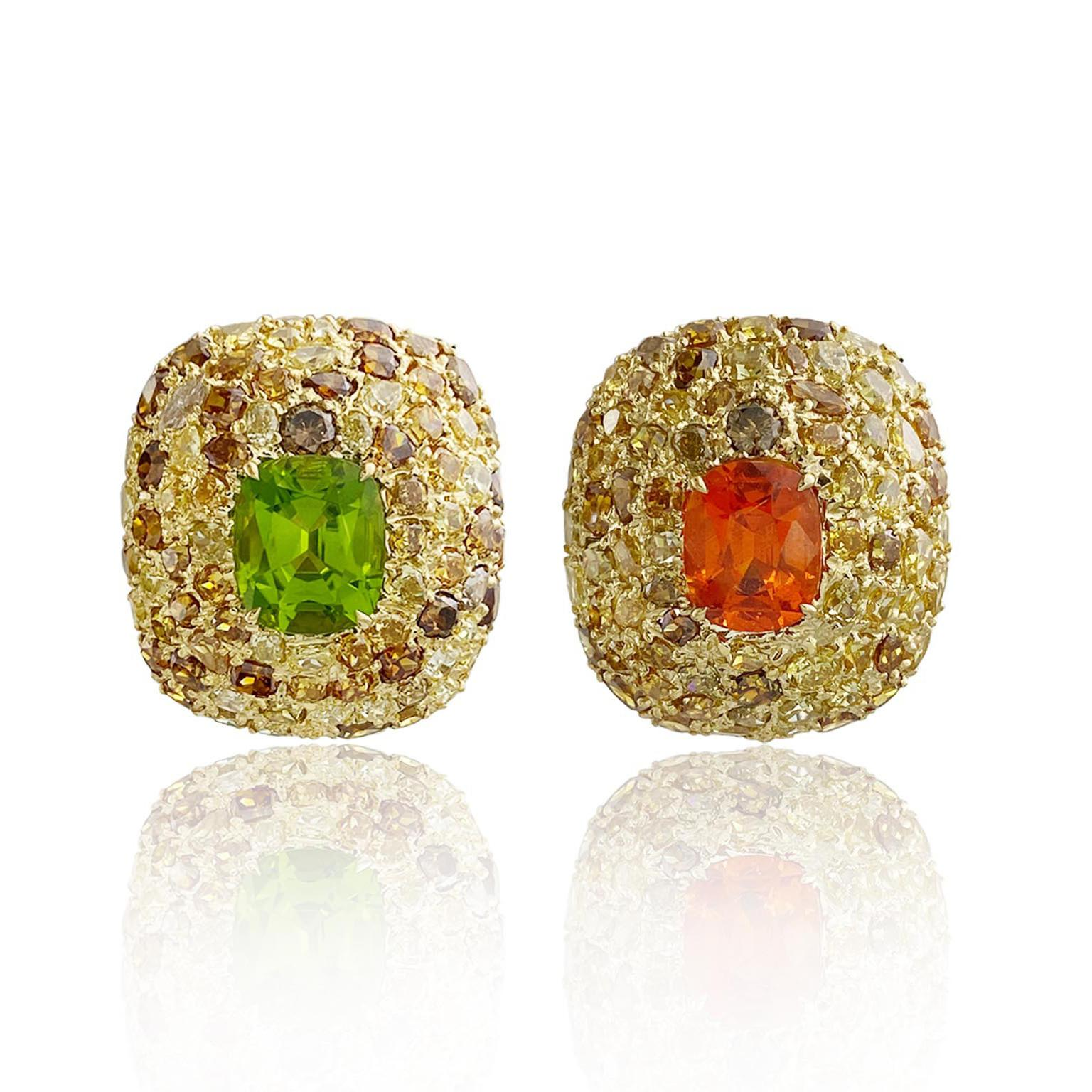 Peridot and garnet earrings 010352 from Margot McKinney