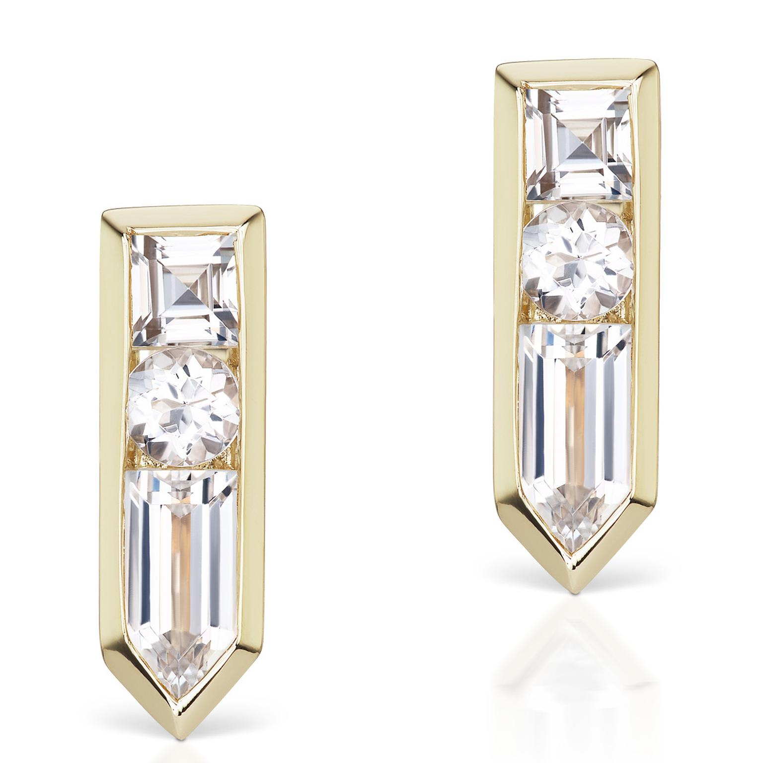 Jane Taylor white topaz and yellow gold Arrow studs
