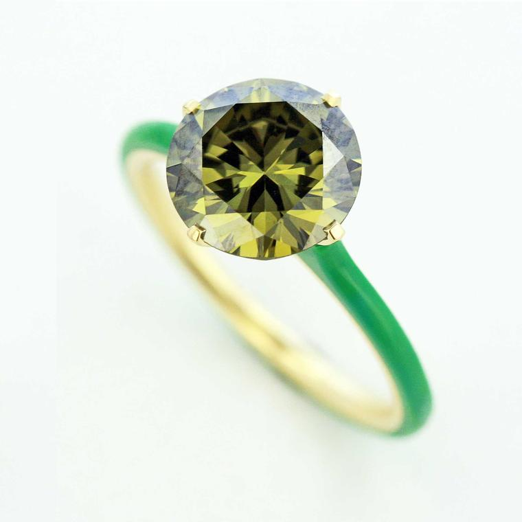 Taffin Chameleon green diamond ring