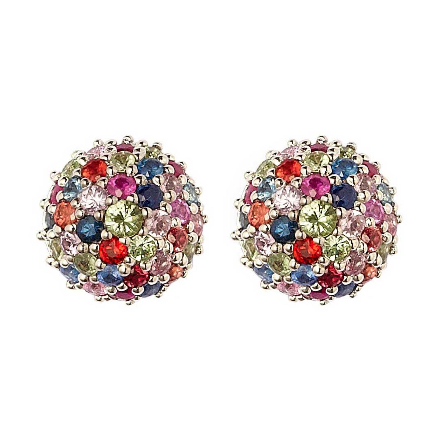 Matthew Campbell Laurenza silver half-ball multicolour sapphire stud earrings