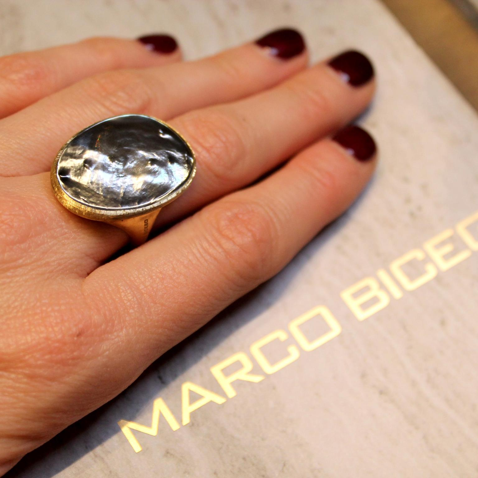 Marco Bicego Lunaria ring with grey mother-of-pearl