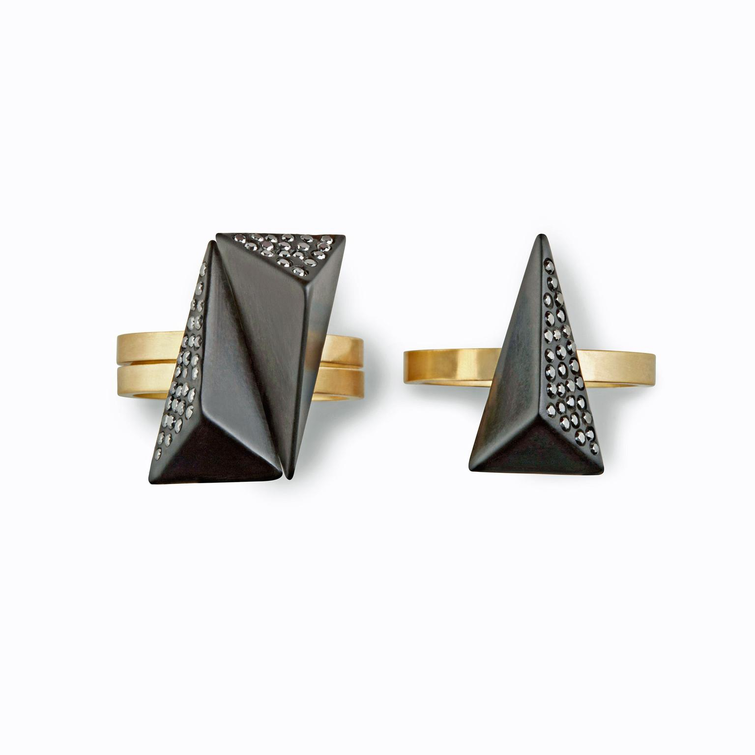 Jacqueline Cullen rings in Whitby Jet and black diamonds