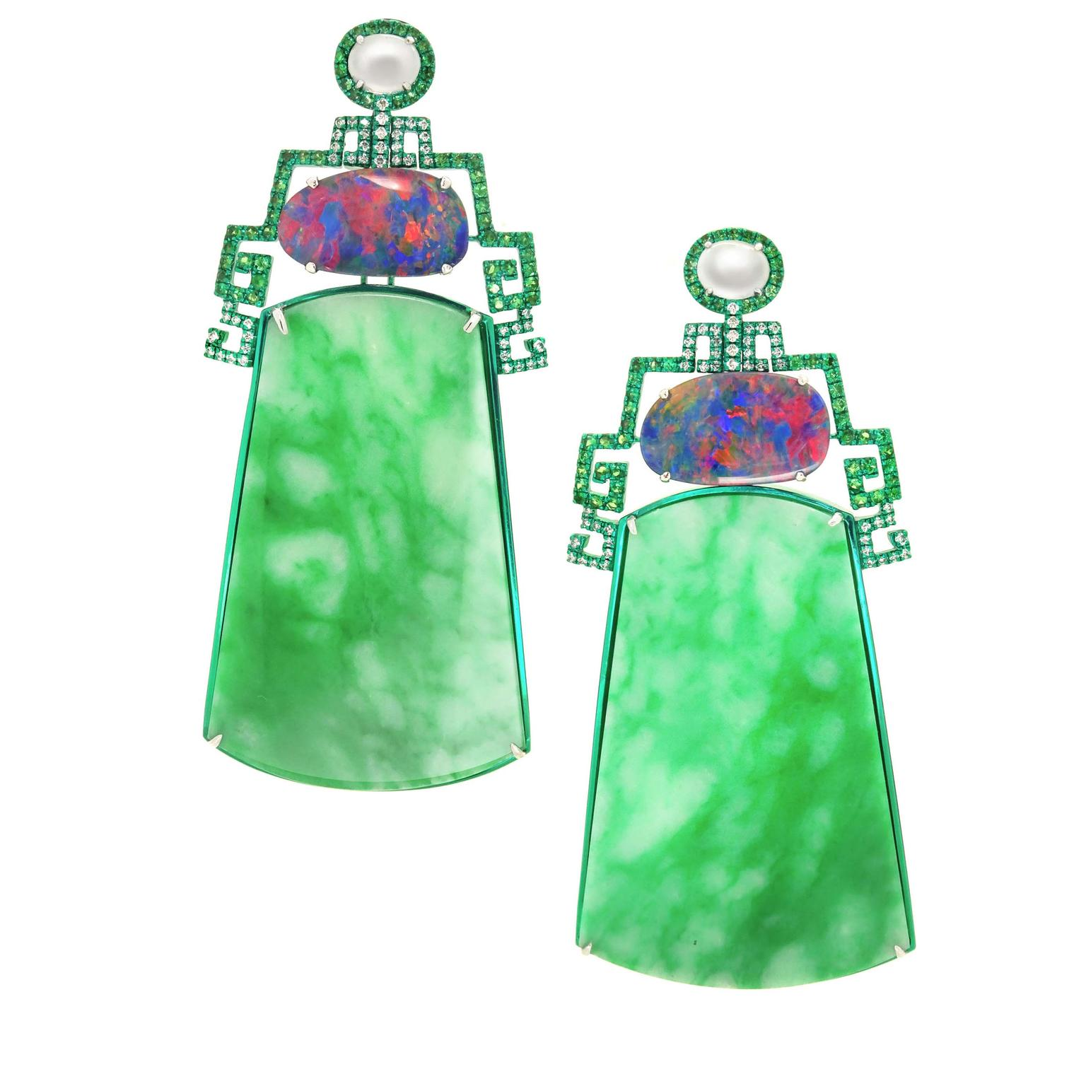 The Screen of Jadeites earrings from Austy Lee