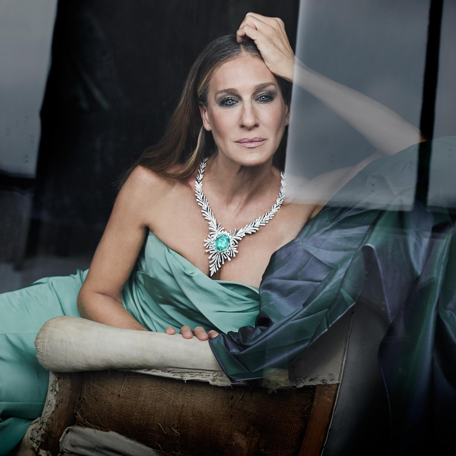 Sarah Jessica Parker wearing one of Kat Florence's largest creations to date, a 98.50 carat Paraiba tourmaline necklace