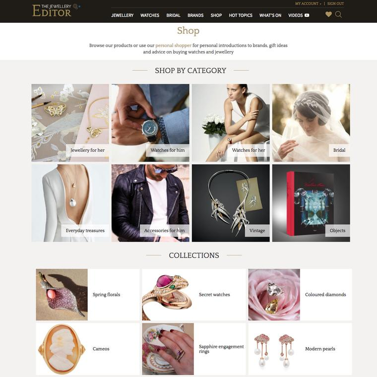 The Jewellery Editor Shop home page