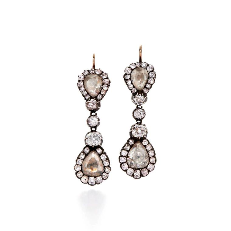 Fred Leighton rose-cut diamond double cluster pendant earrings