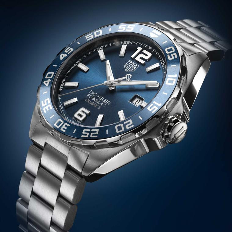 TAG Heuer Formula 1 Bucherer Blue Edition watch on stainless steel side view Price £1650