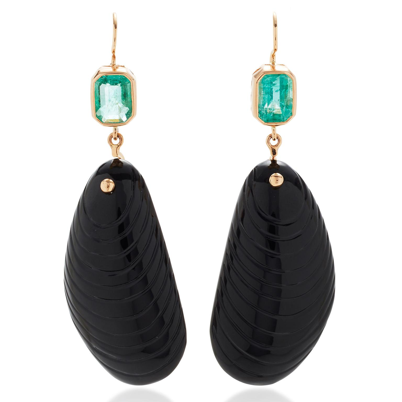 Dezso black onyx shell earrings with emeralds