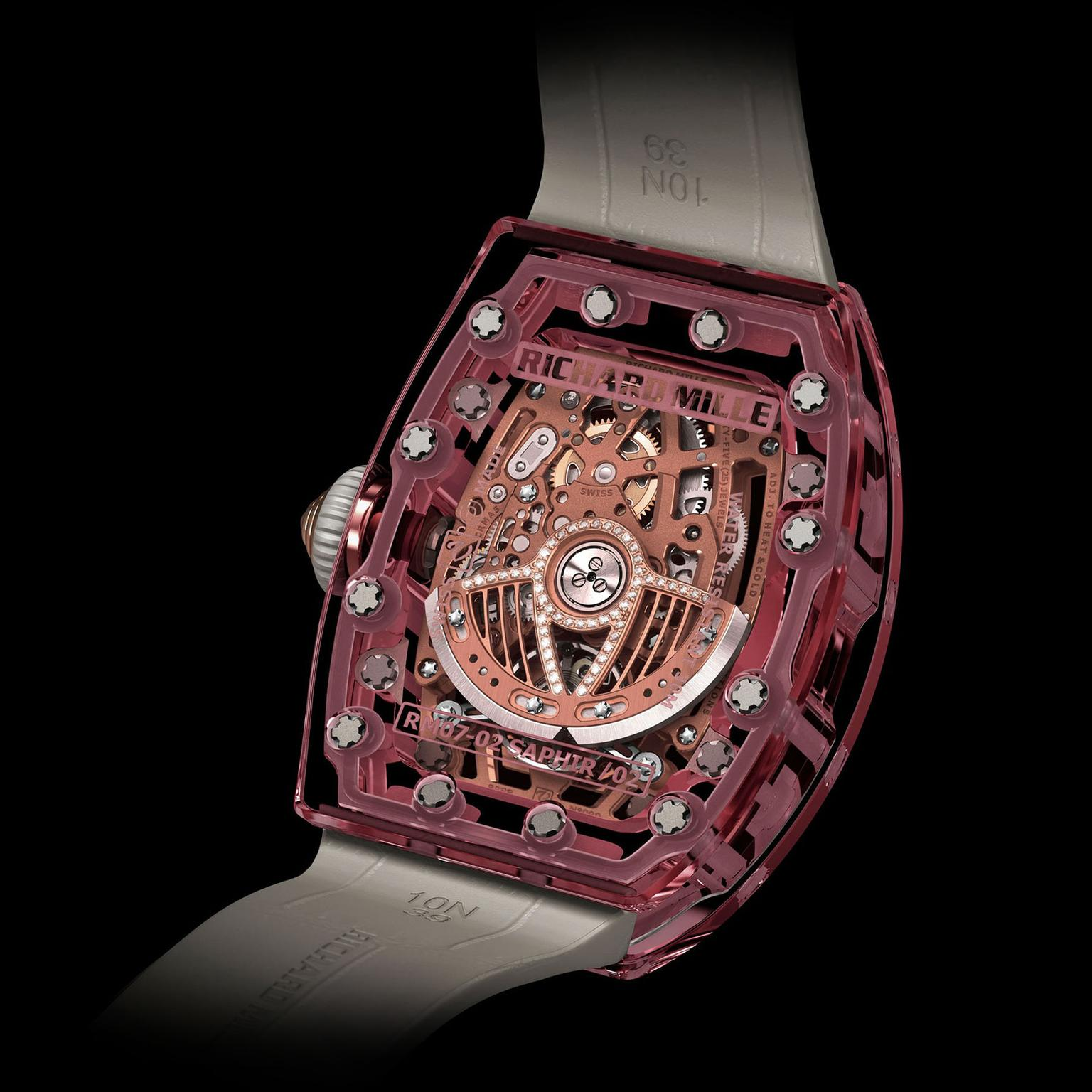 The reverse of the Richard Mille RM 07-02 Pink Lady Sapphire watch
