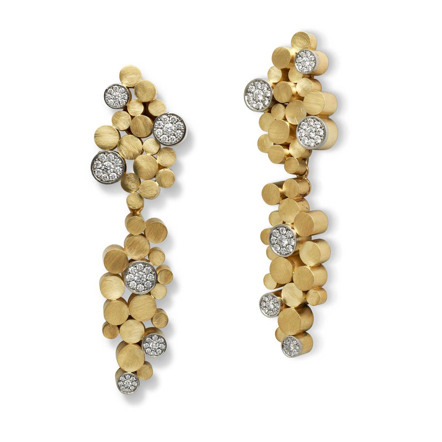 Grima yellow gold and diamond tube earrings with detachable drops