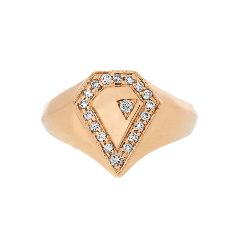 Jacquie Aiche diamond and yellow gold signet ring