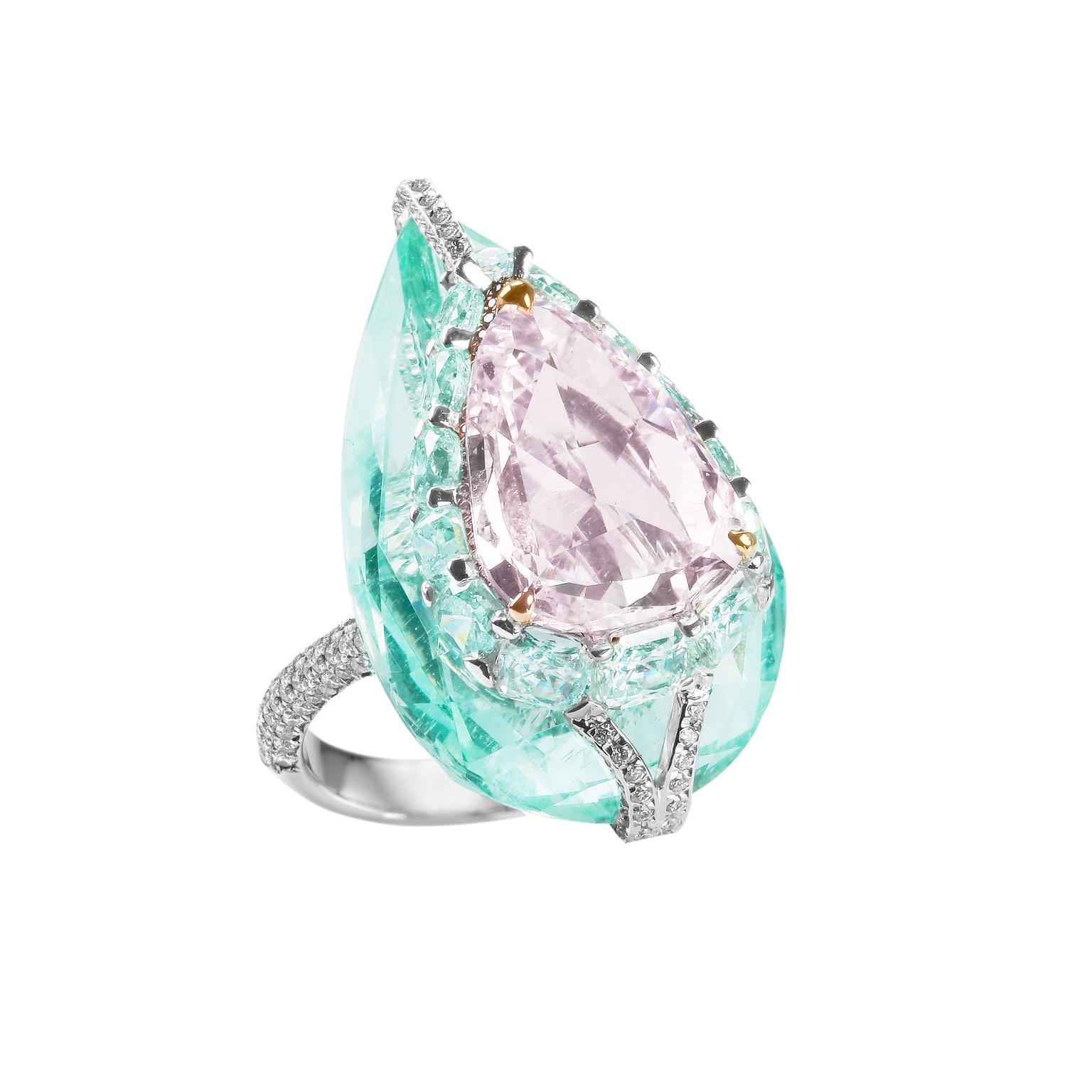 Boghossian Kissing Diamond pink diamond and beryl ring