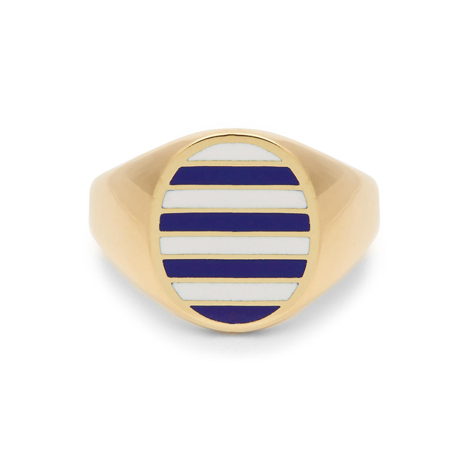 Jessica Biales striped enamel signet ring in yellow gold