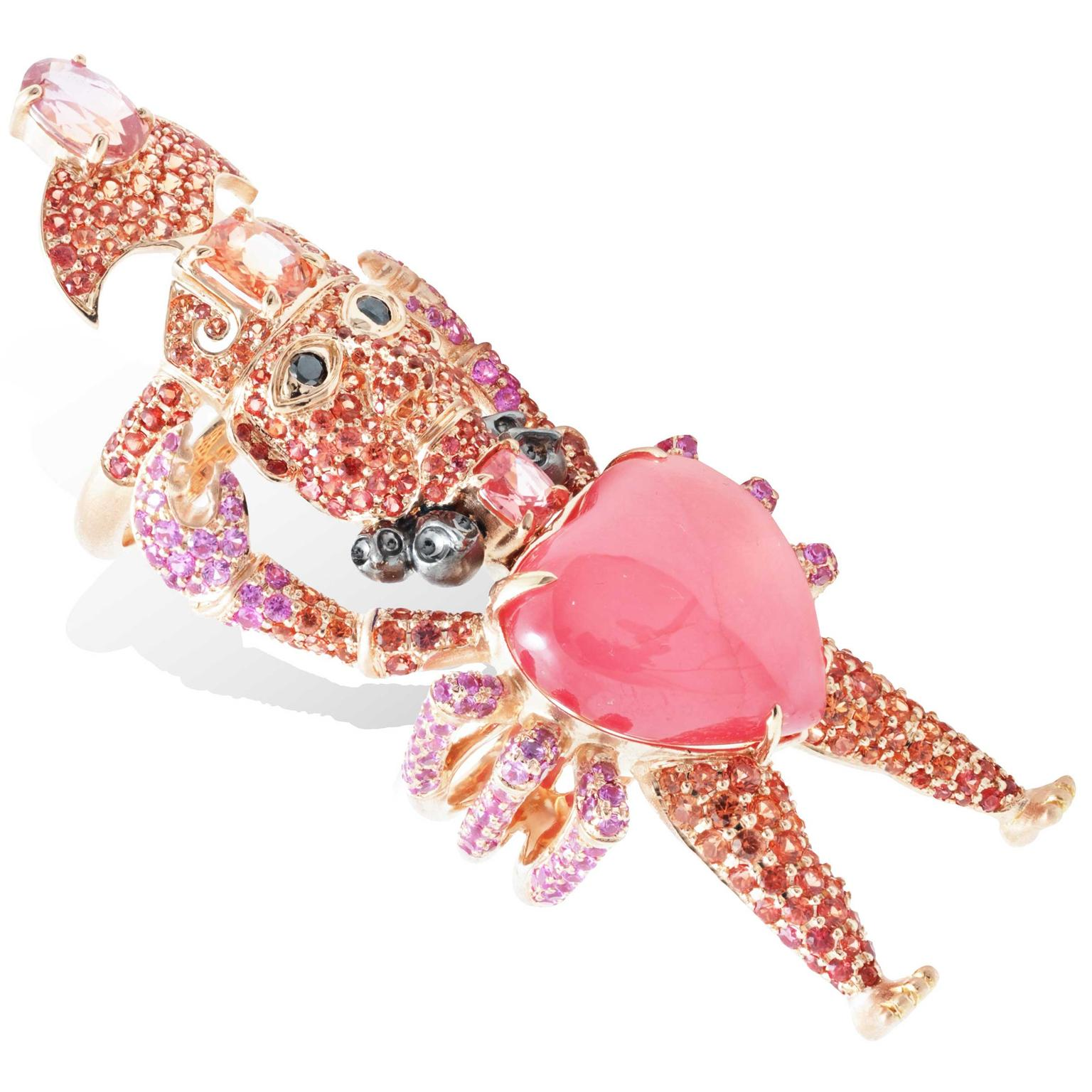 Lydia Courteille Rosa del Inca rhodochrosite Crab God ring