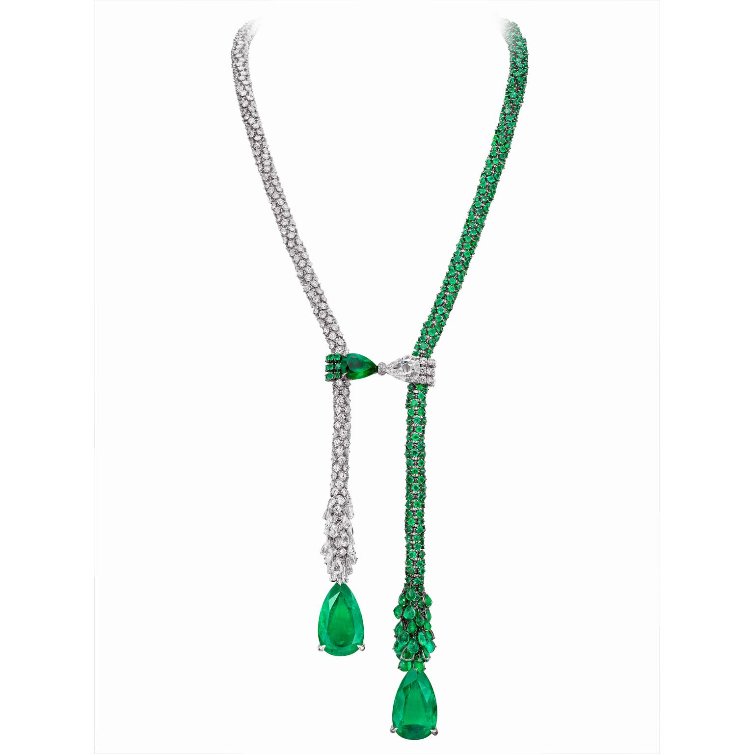 Boghossian Masterpieces diamond and emerald necklace
