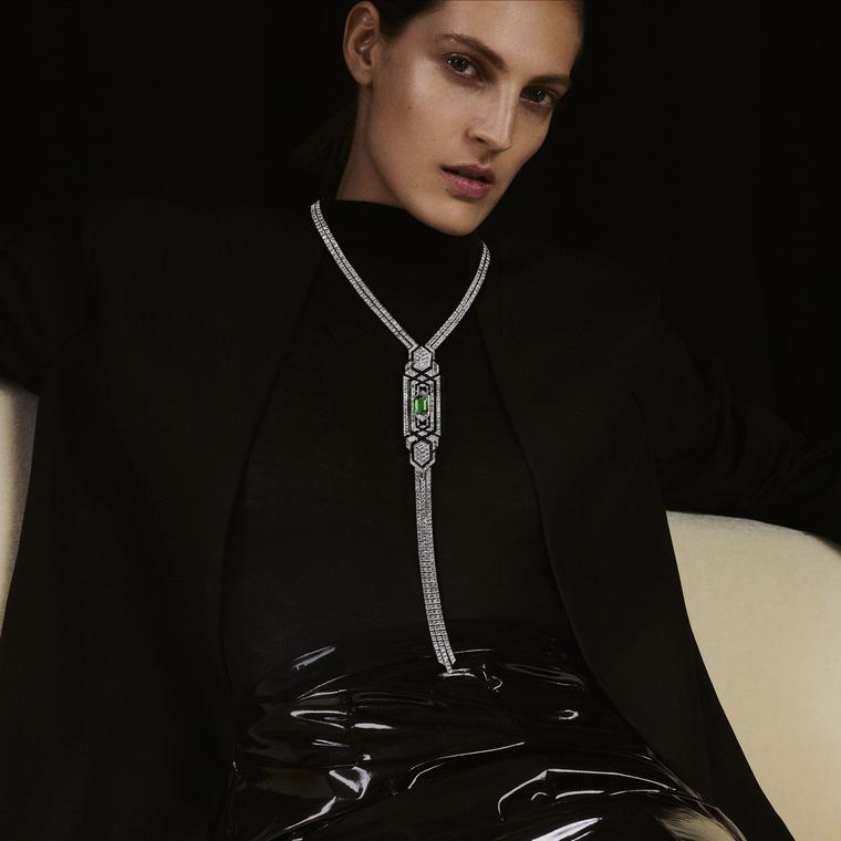 Cravate Emeraude necklace by Boucheron on model