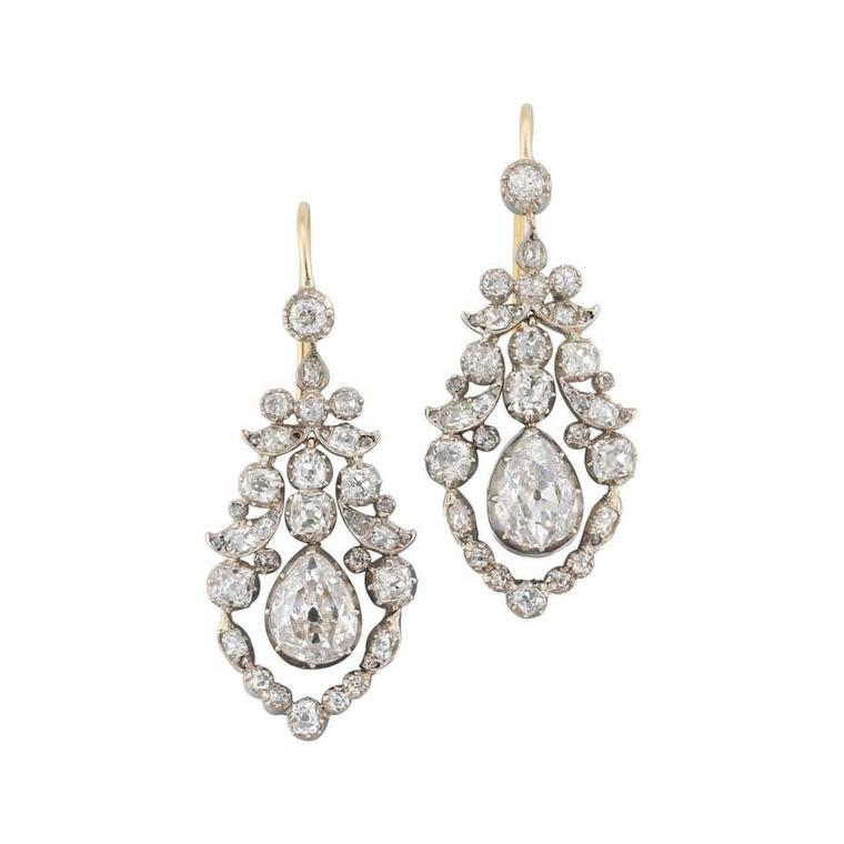 Bentley & Skinner Late Georgian diamond pendant earrings