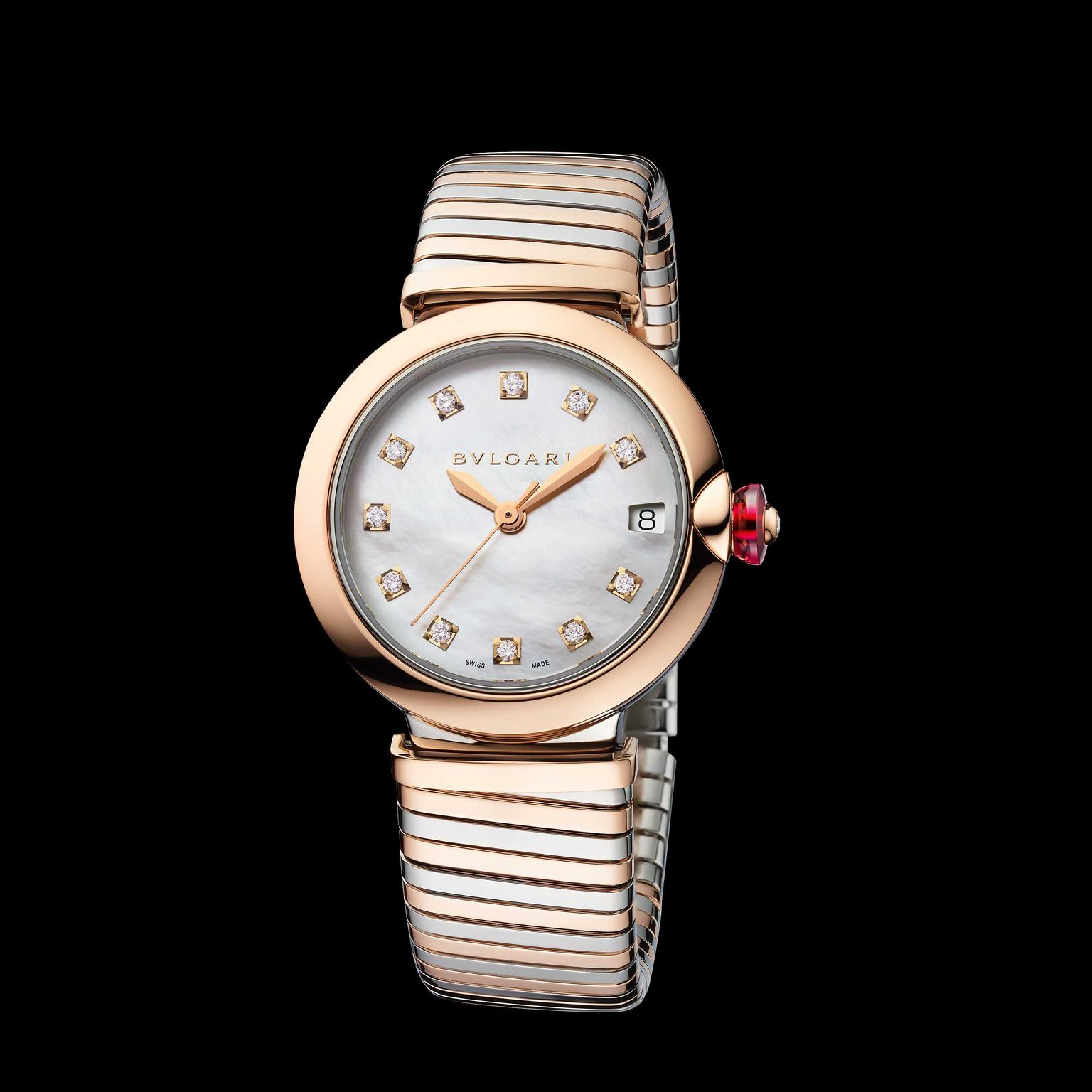 Bulgari Lvcea Tubogas 33mm rose gold and stainless steel women's watch 2018 Price: €10,600