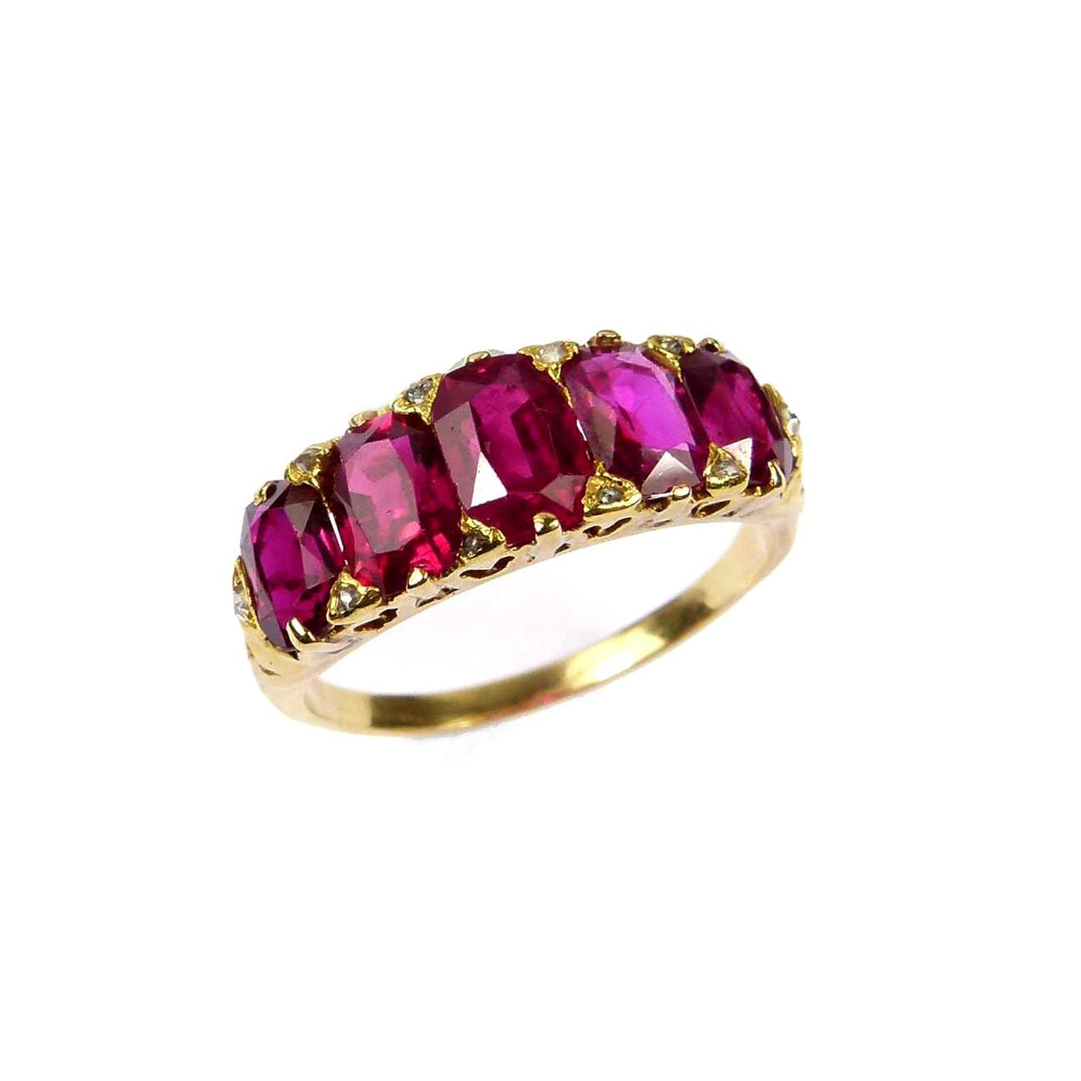 SJ Phillips five-stone Victorian ruby ring