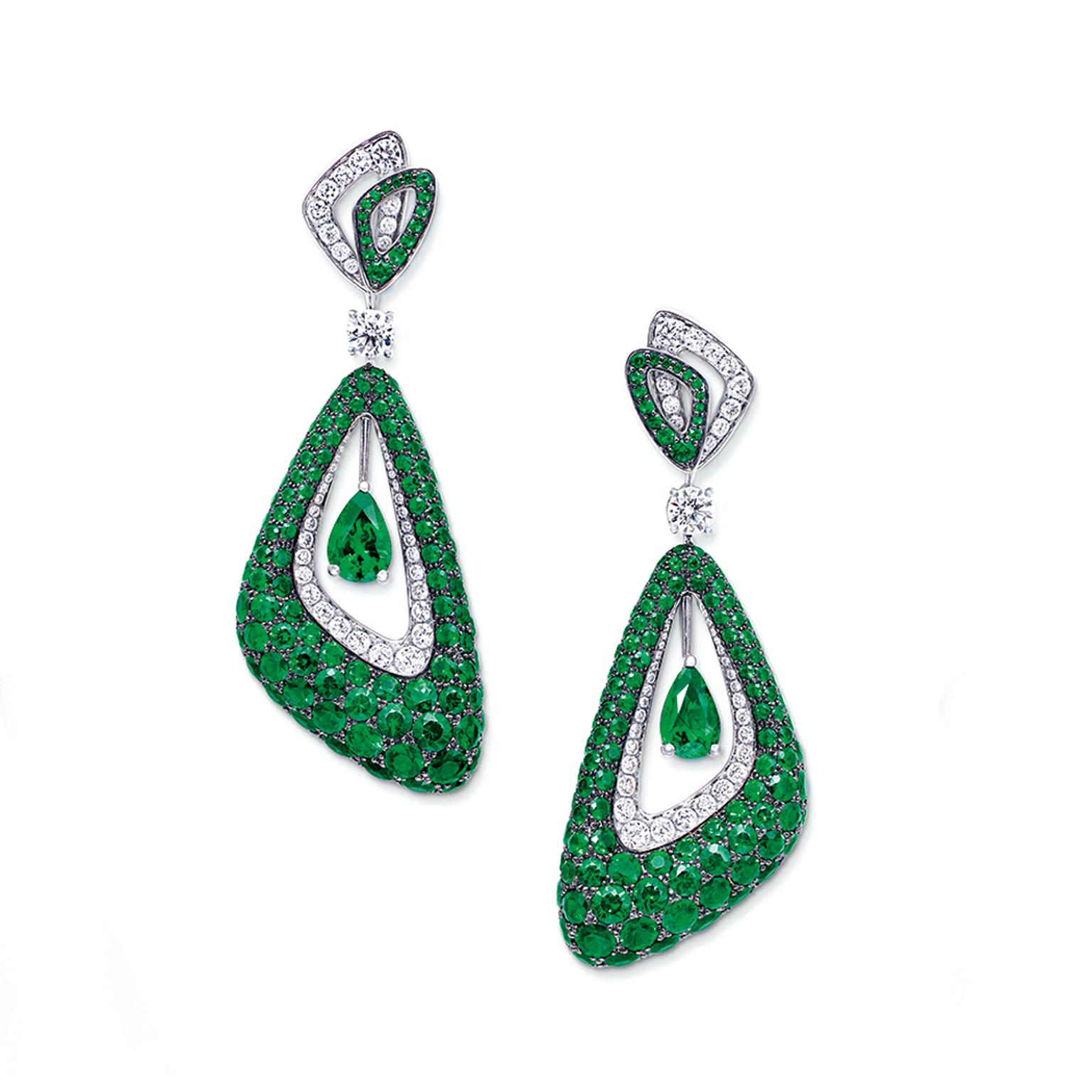 Graff Luna emerald earrings