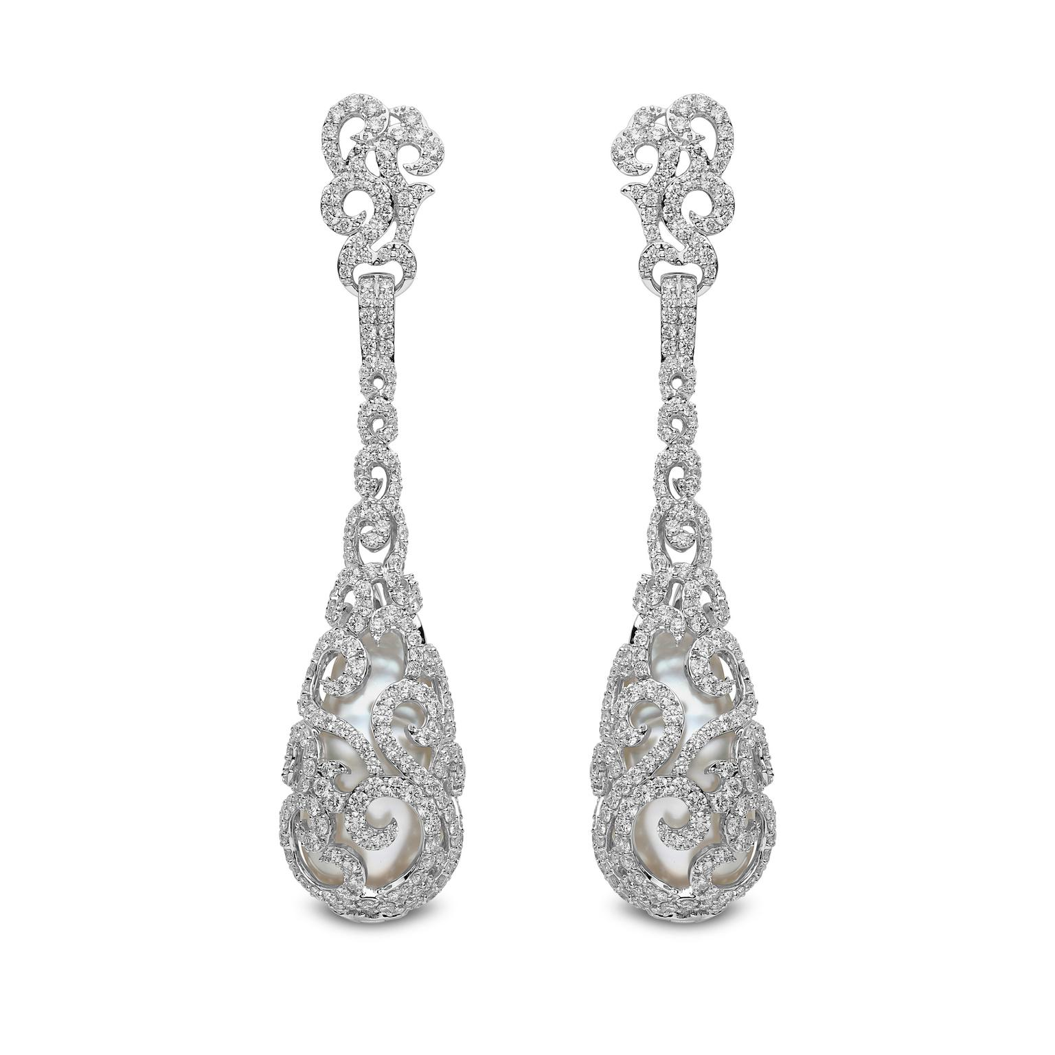 YOKO London diamond and pearl earrings