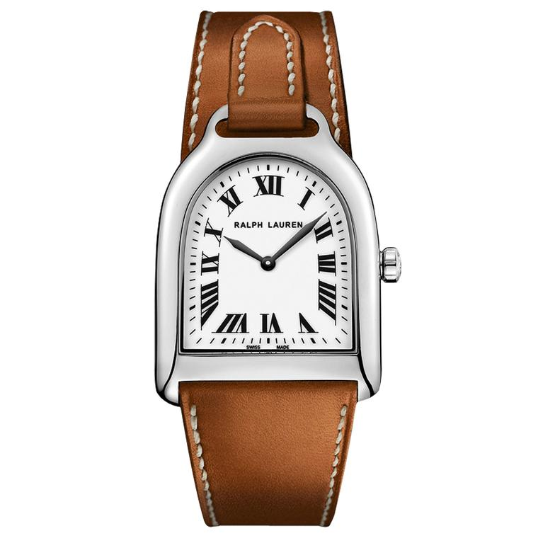 Ralph Lauren Small Stirrup watch for women in staliness steel with a leather strap