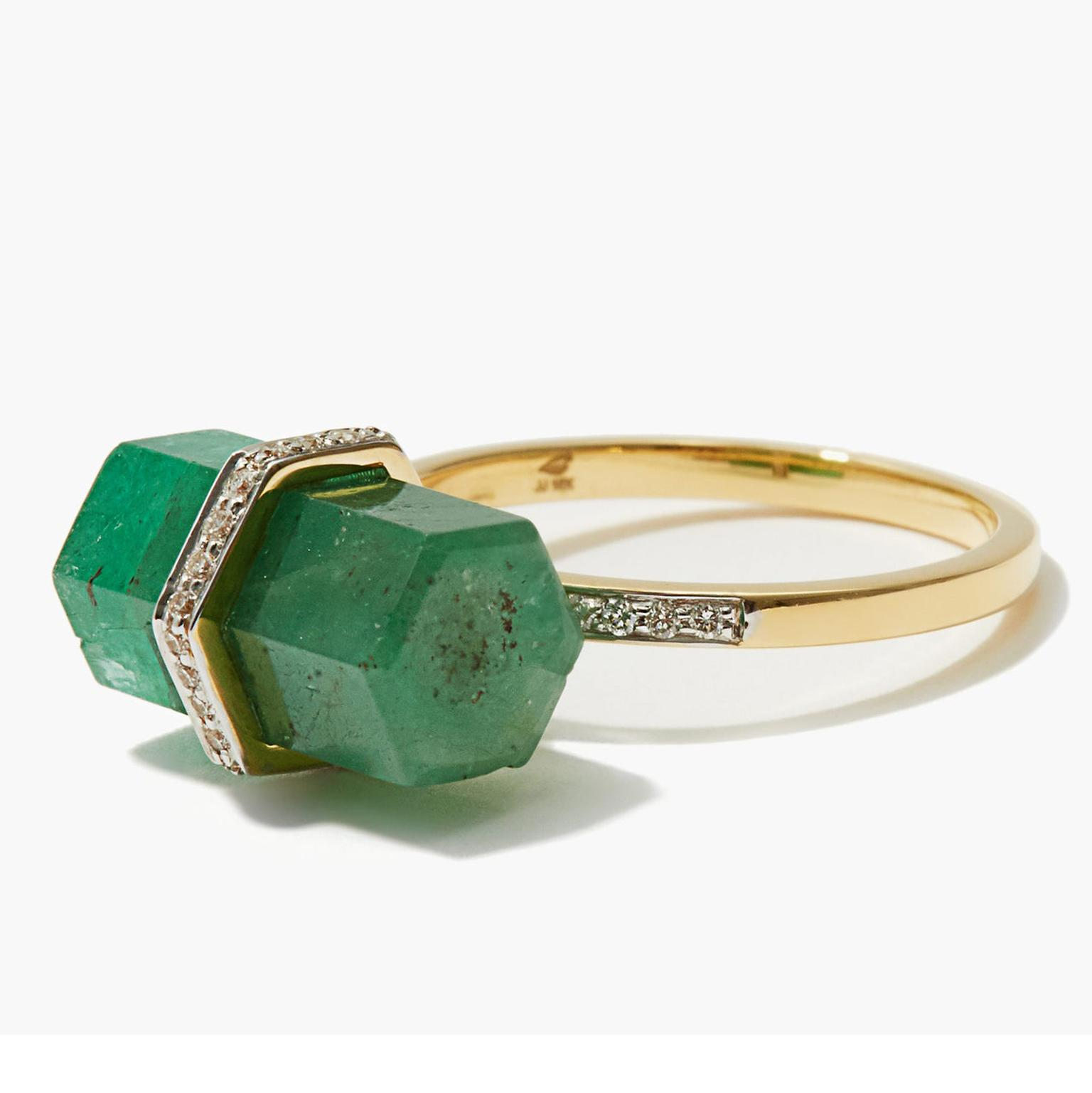 Jade Jagger Diamond, emerald ring