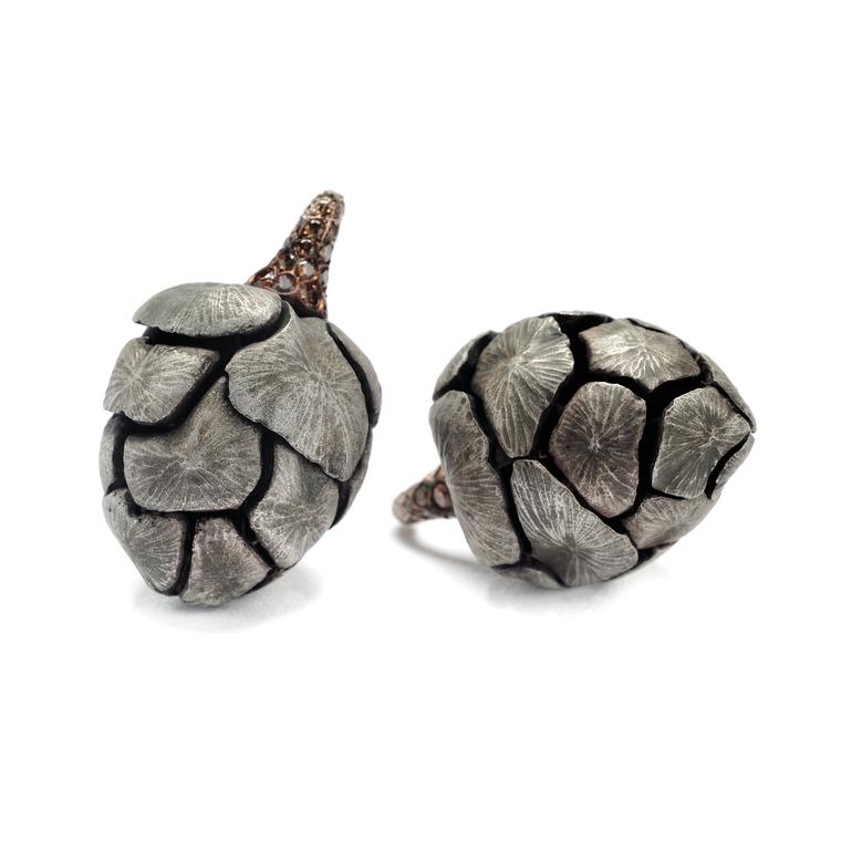 Hemmerle brown diamond aluminium acorn earrings