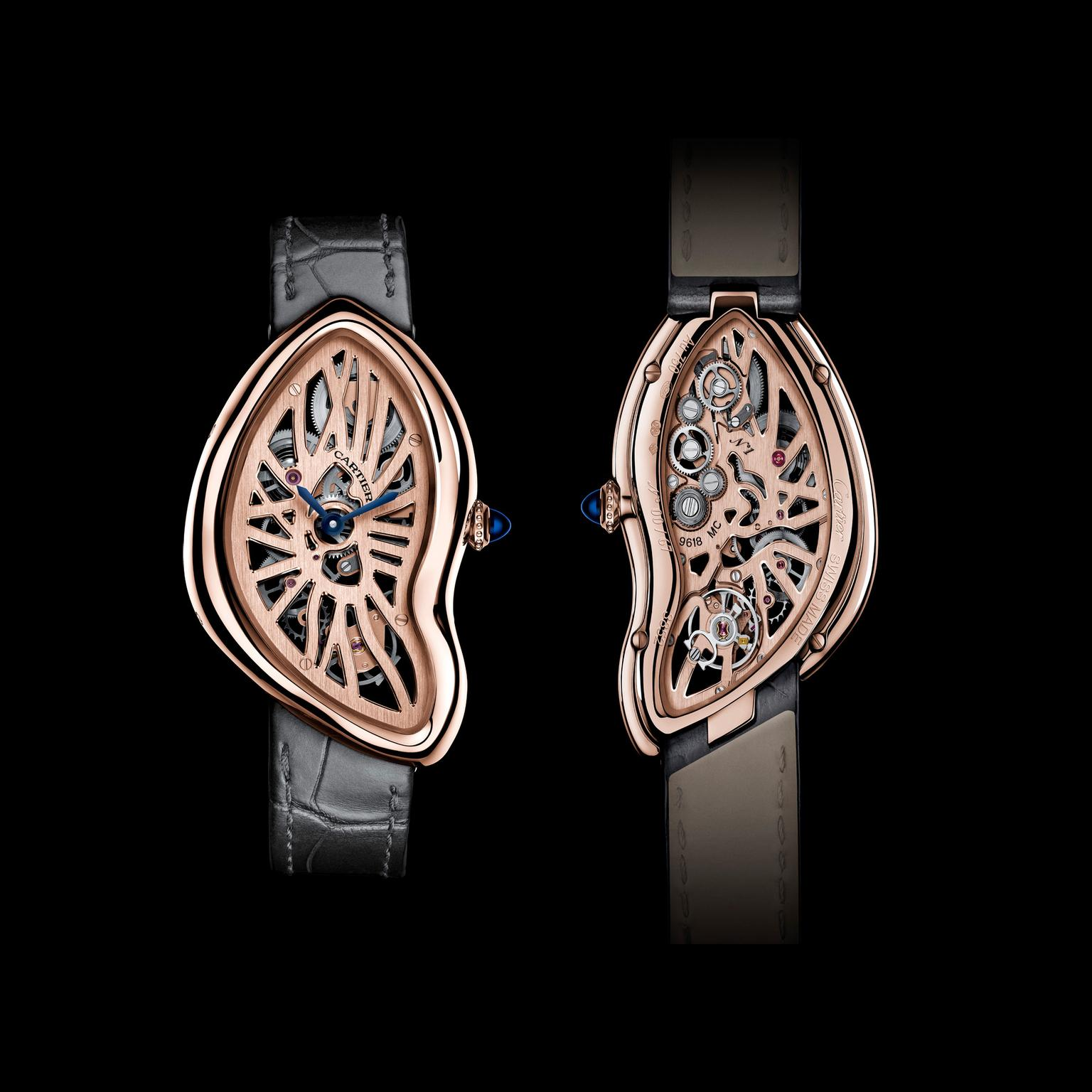 Cartier Crash Skeleton pink gold front and back