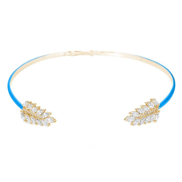 Noudar turquoise enamel choker with diamonds