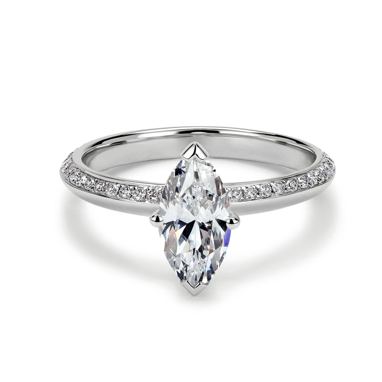 77 Diamonds Elixir white gold engagement ring set with a marquise-cut diamond