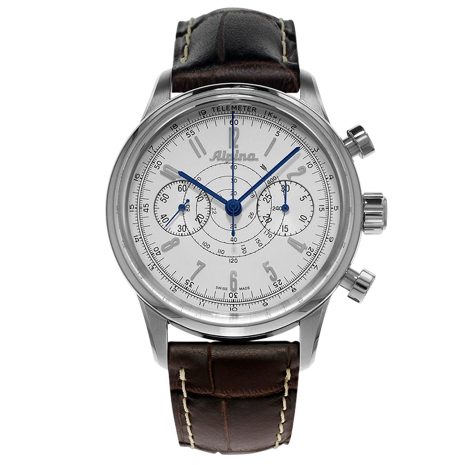 Alpina's vintage-style 130 Heritage Pilot Chronograph features a bi-compax layout complemented with telemetre and tachymetre scales marking it as a professional aviation companion (£2,100).