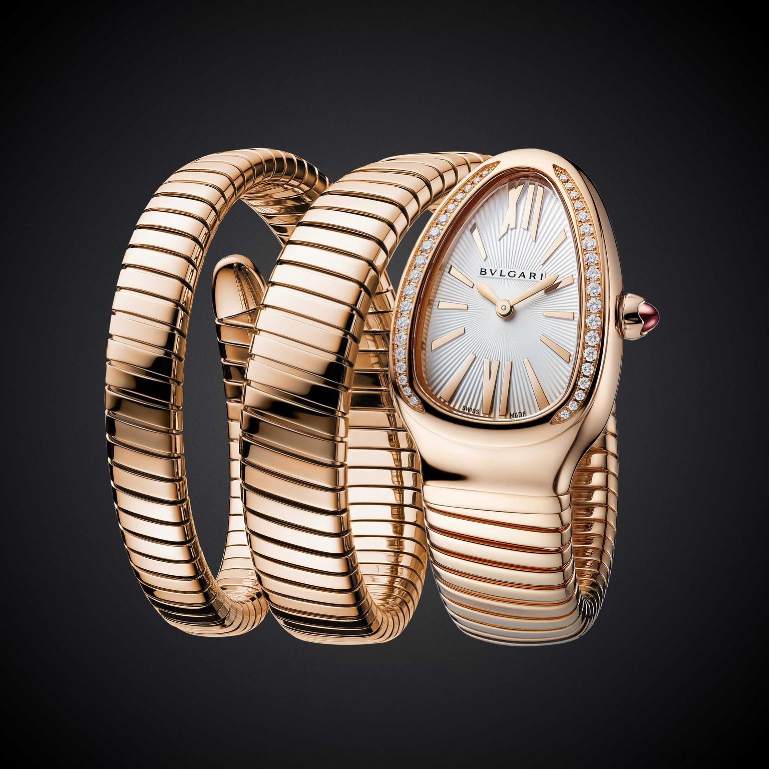 Bulgari Serpenti Tubogas double coil ladies watch in pink gold