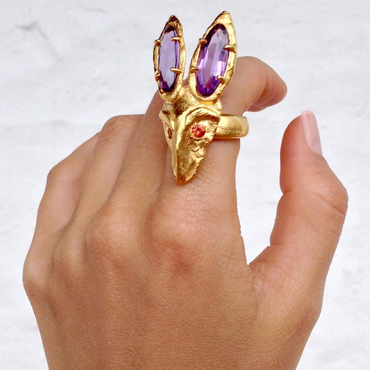 ORAÏK Silent Walker gold ring with amethyst and orange sapphires