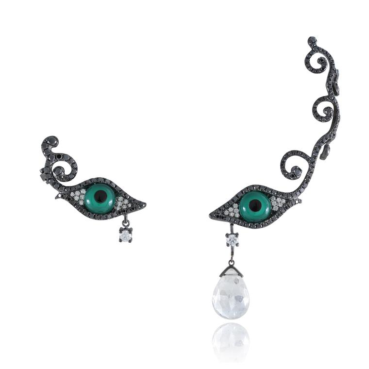 Eyes ear cuff and earring with precious gemstones
