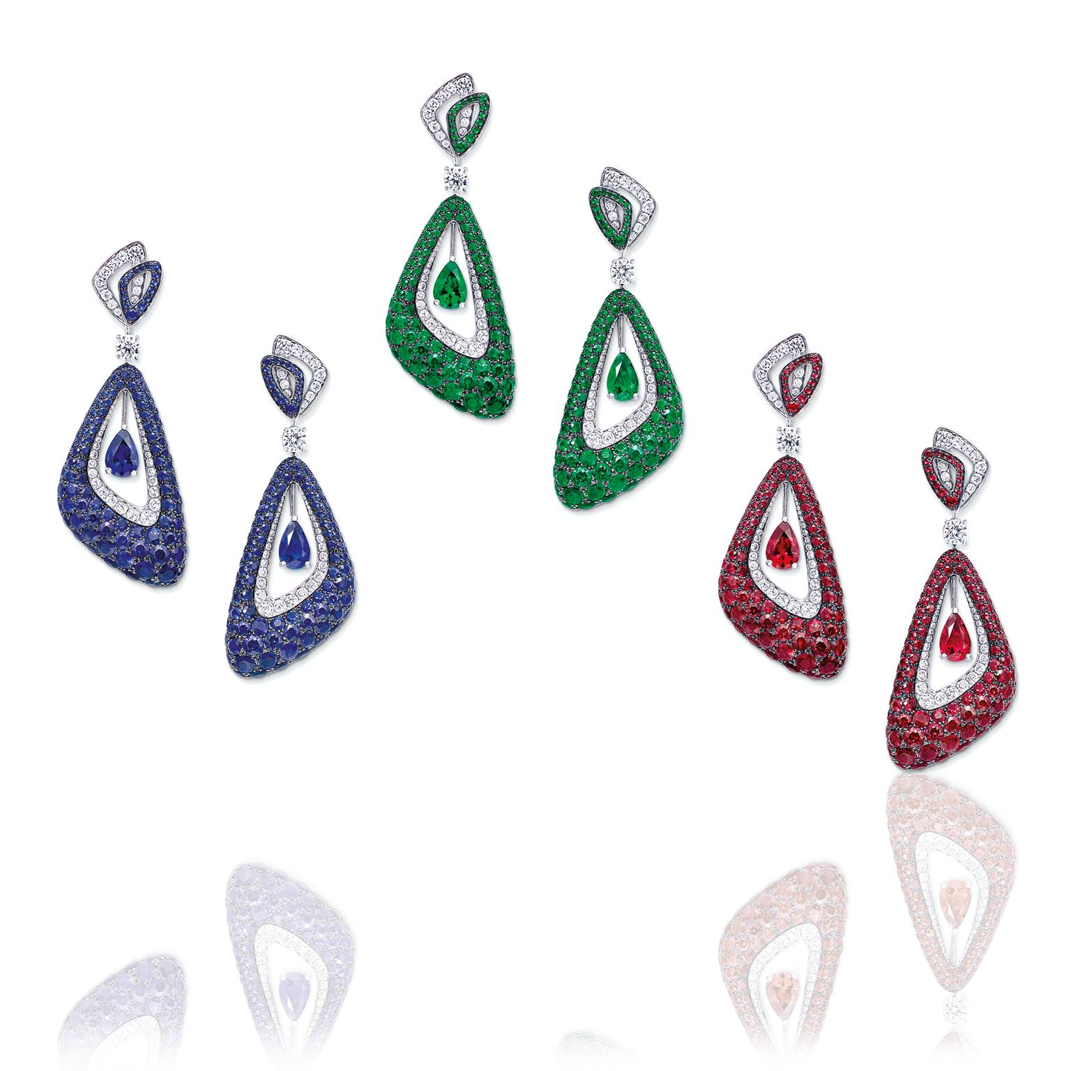 Graff Luna earrings set with sapphires, emeralds and rubies