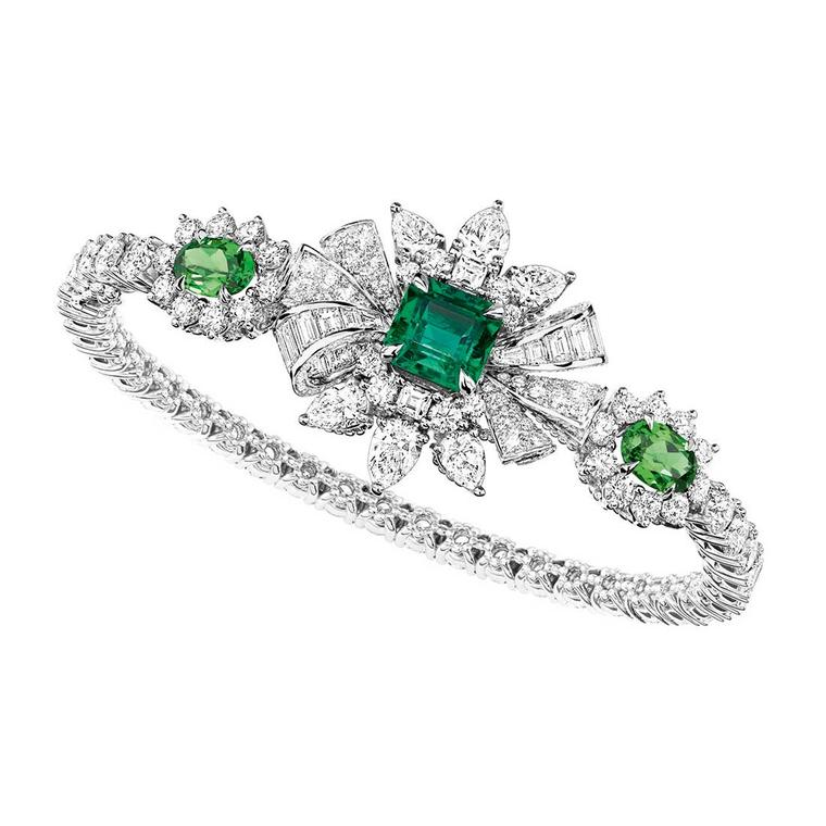 Dior Plumetis Émeraude bracelet with emeralds and diamonds