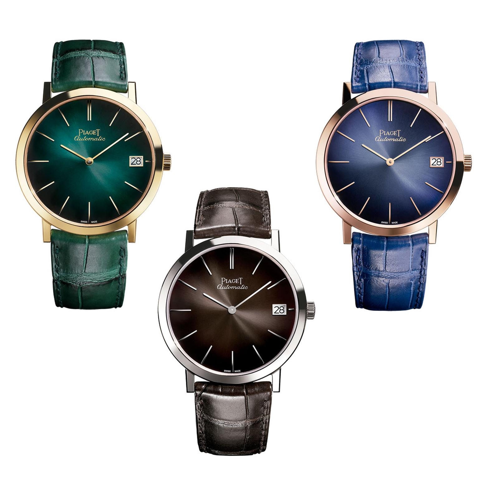 40mm Piaget Altiplano watches in green, grey and blue