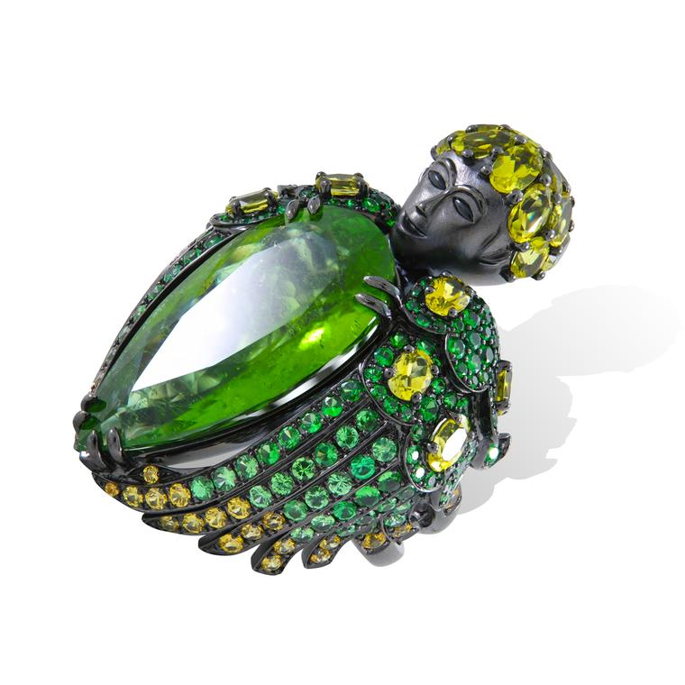 Lydia Courteille Queen of Sheba green tourmaline ring