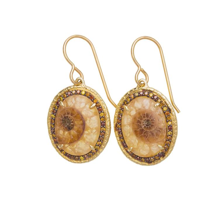 Susan Wheeler earrings with ammonite fossilized shells