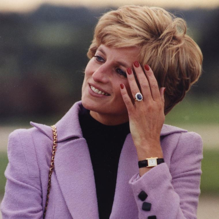 Lady Diana in her Cartier Tank watch