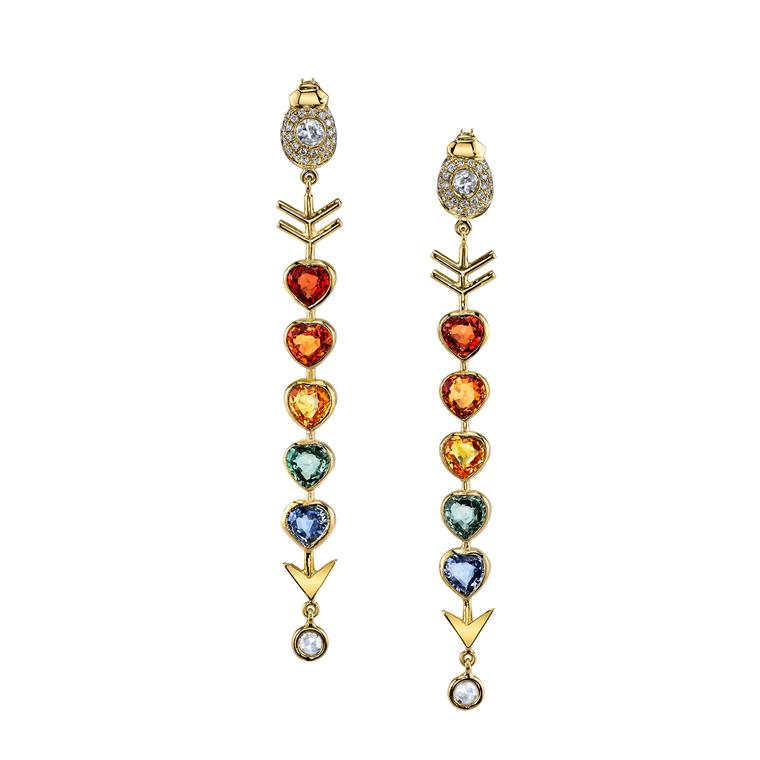 Daniela Villegs Love Arrow multicolor sapphire earrings