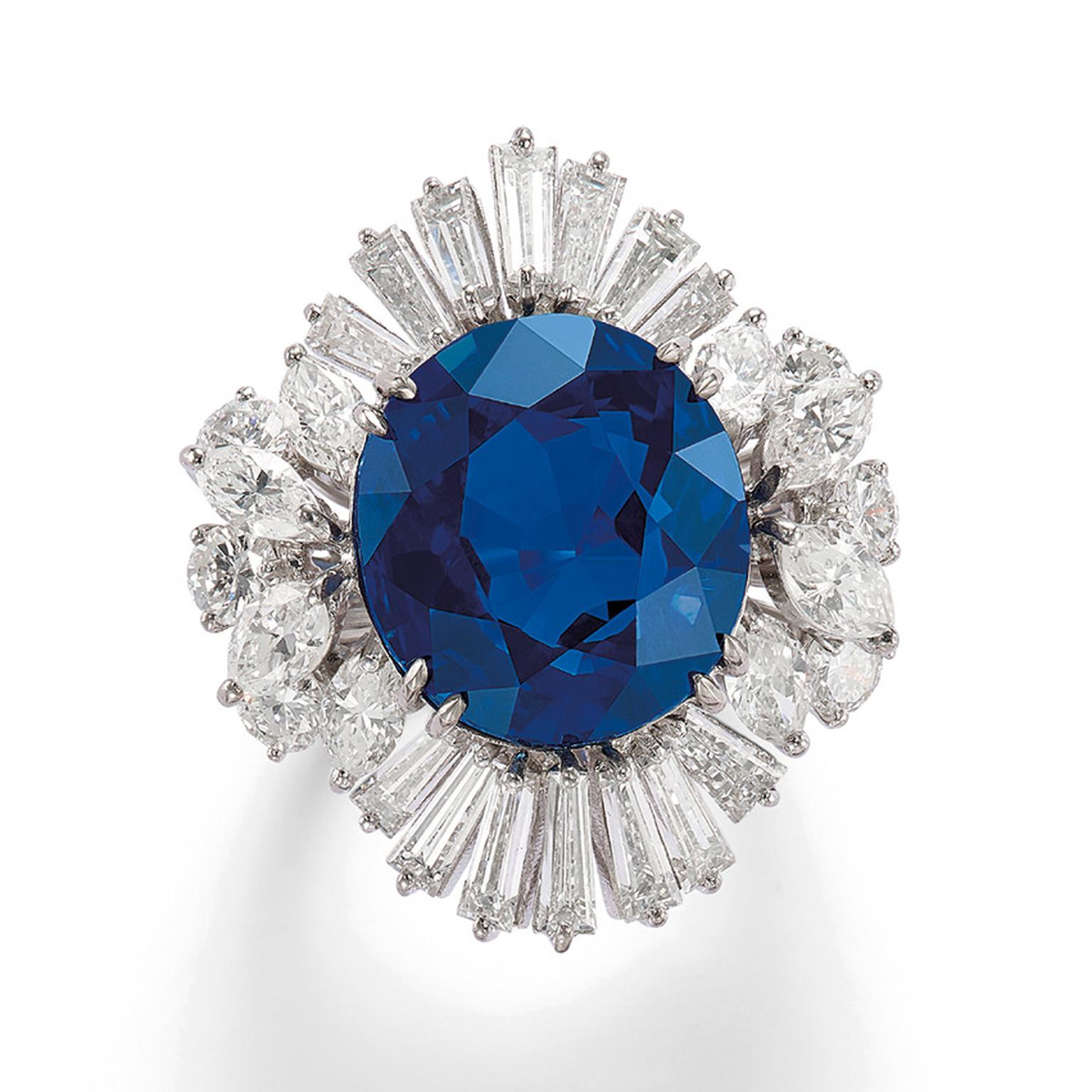 Lot 585 Sapphire ring with diamonds Phillips Auction