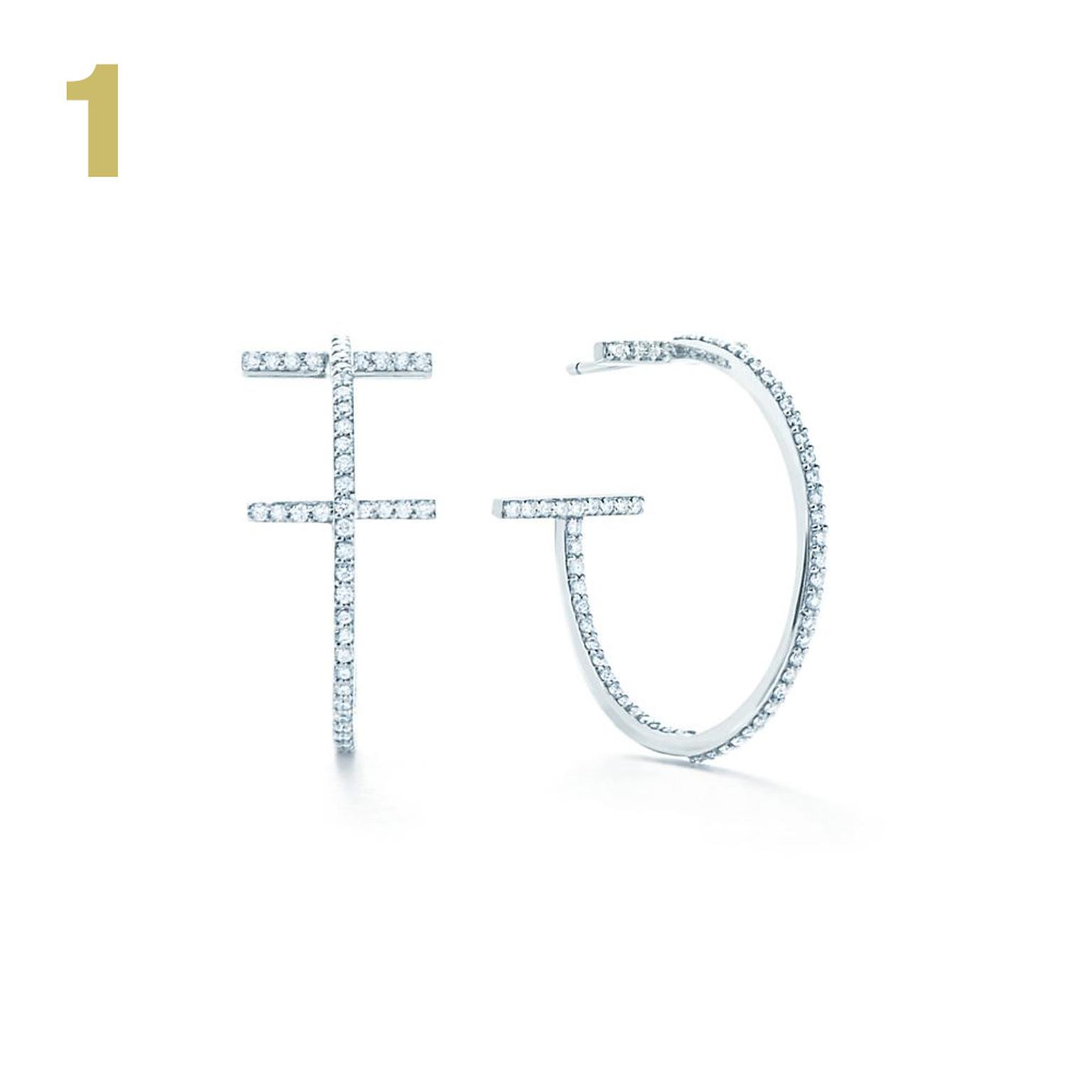 Tiffany T white gold and diamond hoop earrings