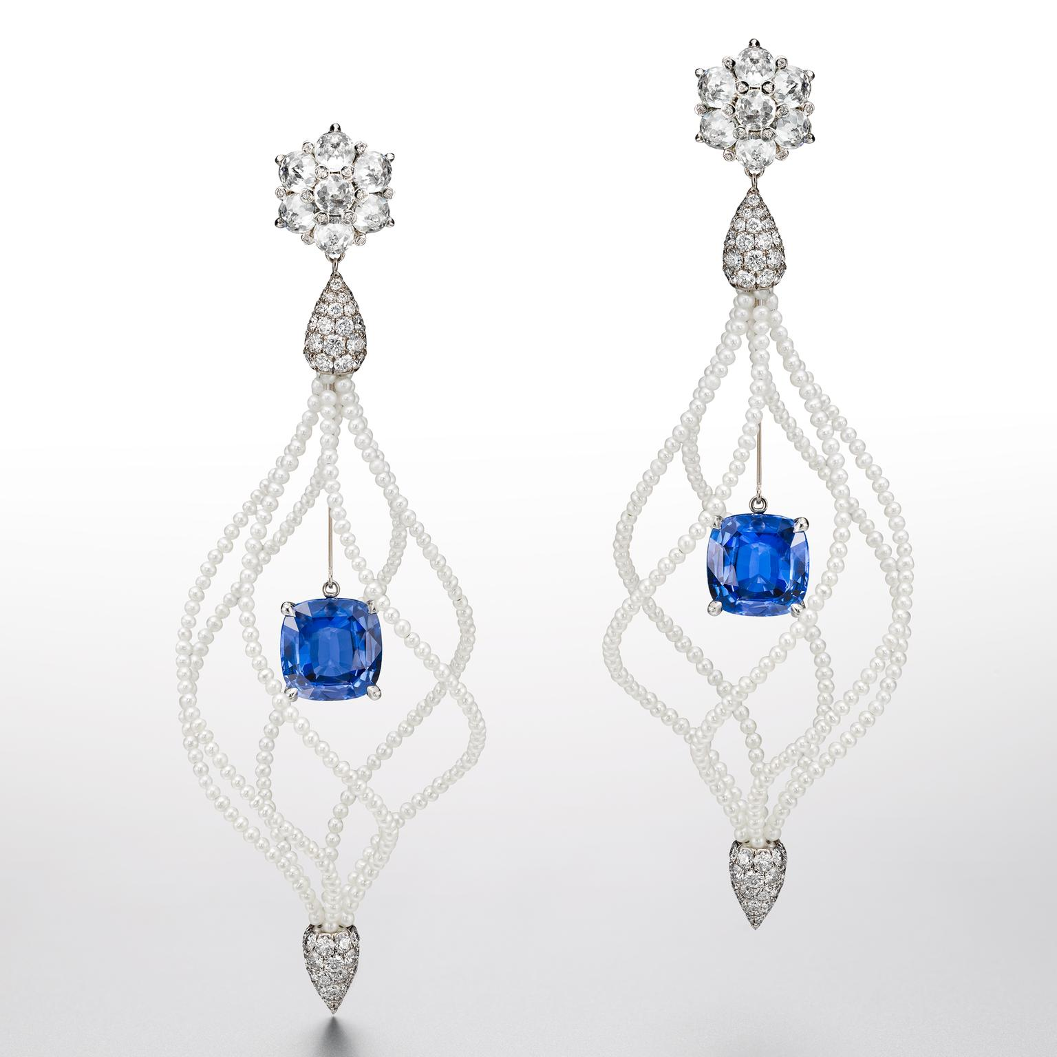 Suzanne Syz Lady Hamilton earrings with Ceylon sapphires, diamonds and pearls