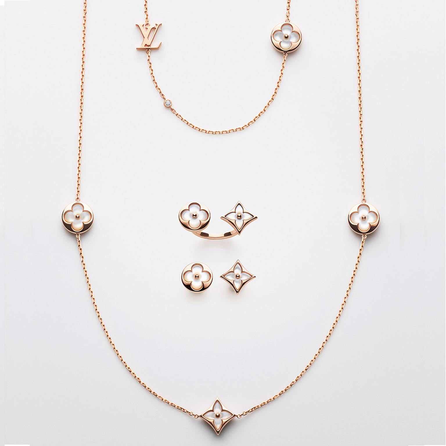 Louis Vuitton Blossom Color BB jewels necklace ring and earrings